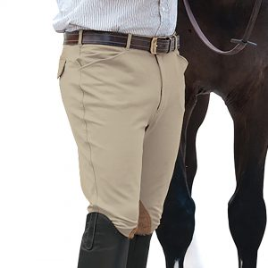 EuroWeave™ Front Zip 4-Pocket Knee Patch Breeches – Men's