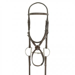 Elite Collection- Fancy Raised Traditional Crown Padded Figure-8 Bridle with BioGrip™ Rubber Reins