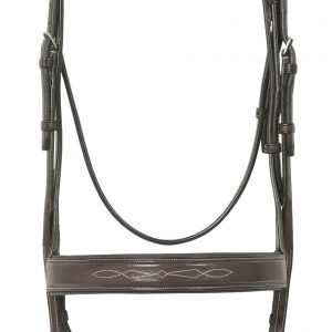 Elite Collection- Fancy Raised Traditional Crown Flat Wide Nose Padded Bridle with Fancy Raised Lace Reins