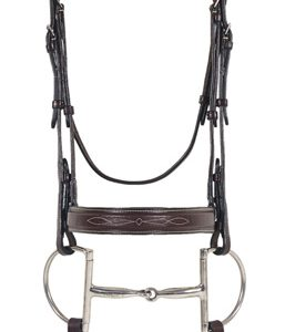 Elite Collection- Fancy Raised Comfort Crown Flat Wide Nose Padded Bridle with Fancy Raised Laced Reins