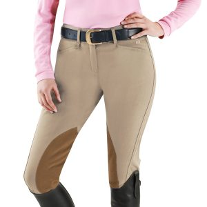 EuroWeave DX™ Taylored™ Front Zip Knee Patch Euro Seat Breeches- Ladies'