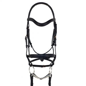 Rosegold Dressage Bridle with Traditional Noseband and Flash
